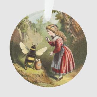 Ornamento Pote do mel da menina do Victorian da abelha do