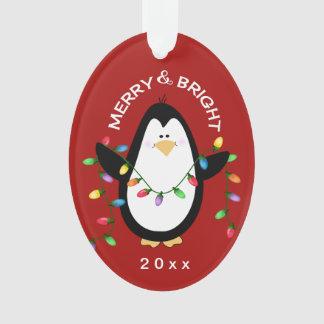 Ornamento Presente de época natalícia vermelho brilhante de