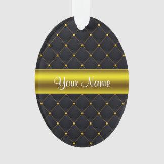 Ornamento Preto acolchoado elegante e ouro personalizados