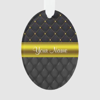 Ornamento Preto acolchoado sofisticado e ouro