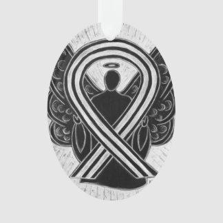 Ornamento preto e branco do anjo da fita da
