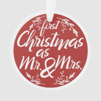 Ornamento Primeiro Natal customizável como o Sr. e a Sra.