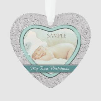 Ornamento Primeiro Natal do bebê de prata da cerceta do