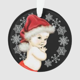 Ornamento Primeiro Natal do bebé de prata dos flocos de neve