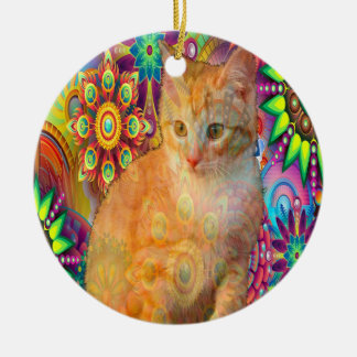 Ornamento psicadélico do gato, gato da tintura do