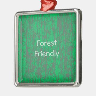 Ornamento quadrado amigável da floresta