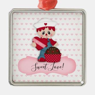 Ornamento Raggedy do cupcake do querido da boneca
