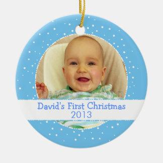 Ornamento redondo azul da foto do ø Natal do bebé