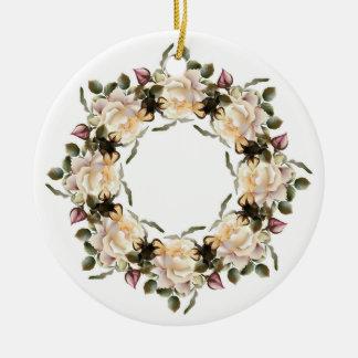 Ornamento redondo cerâmico da grinalda do rosa