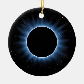 Ornamento redondo cerâmico do eclipse solar
