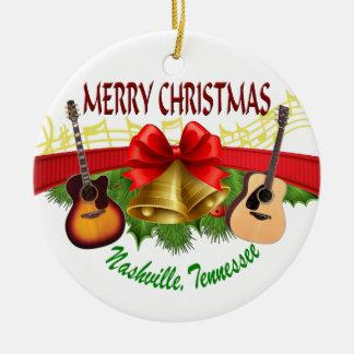 Ornamento redondo de Nashville do Feliz Natal