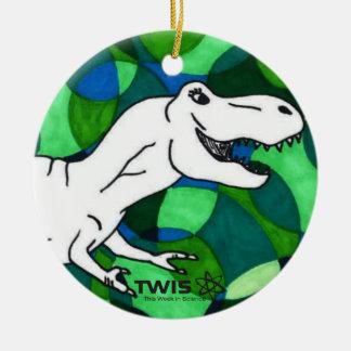 Ornamento redondo de TWIS: O canto animal T Rex de