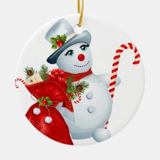 Ornamento redondo do boneco de neve do Natal