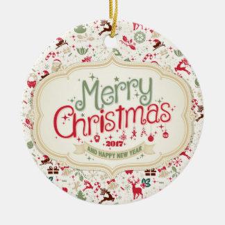 Ornamento redondo do Feliz Natal 2017