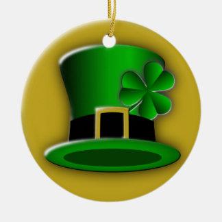 Ornamento redondo padrão do chapéu irlandês do Dia