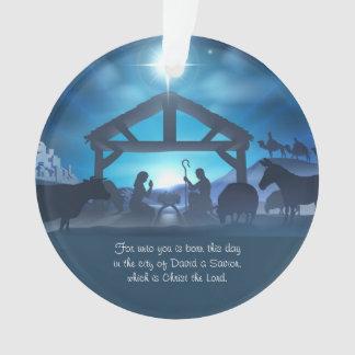 Ornamento religioso azul do costume do Natal da
