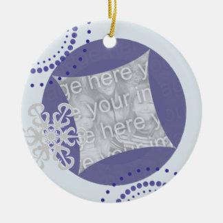 Ornamento retro da foto do Natal do floco de neve