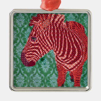 Ornamento retro do Feliz Natal da zebra