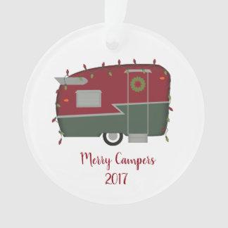 Ornamento retro do natal vintage dos campistas