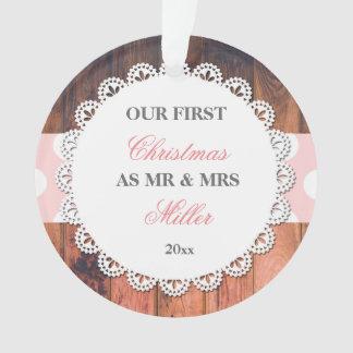 Ornamento Rosa de madeira rústico Wedding dos primeiros