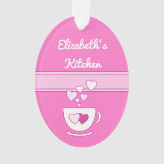 Ornamento Rosa quente personalizado das citações do café da