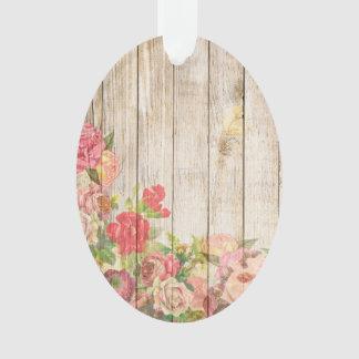 Ornamento Rosas românticos rústicos do vintage de madeira