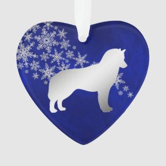 Ornamento Rouco Siberian do floco de neve de prata azul