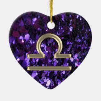 Ornamento roxo do Libra do sinal do zodíaco do