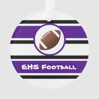 Ornamento roxo e preto personalizado do futebol