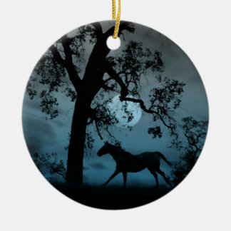 Ornamento Running bonito do cavalo e da Lua cheia