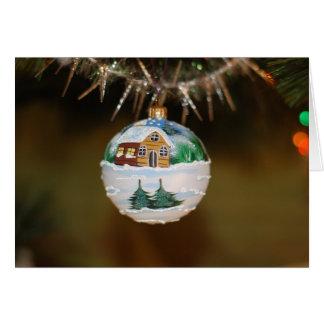 Ornamento rústico pintado no cartão de Natal