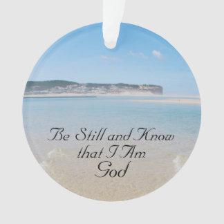 Ornamento Seja ainda e saiba que eu sou deus, praia do
