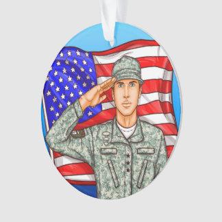 Ornamento Soldado e bandeira americana - apreciação