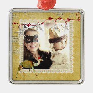Ornamento sonhador da foto do ouro do vintage do c