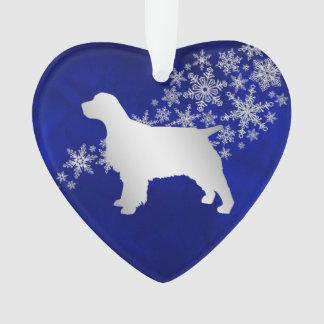 Ornamento Spaniel de prata azul do floco de neve