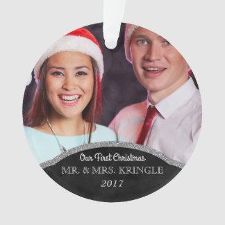 Ornamento Sr. e Sra. Nossa primeira foto do Natal