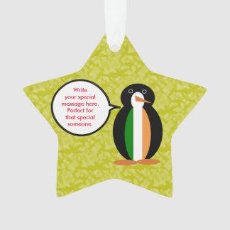 Ornamento Sr. irlandês Pinguim do feriado