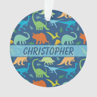Ornamento Teste padrão colorido do dinossauro a personalizar