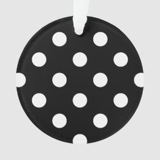 Ornamento Teste padrão de bolinhas preto e branco