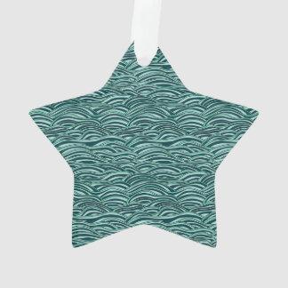 Ornamento Teste padrão de ondas verde e azul. Textura do mar