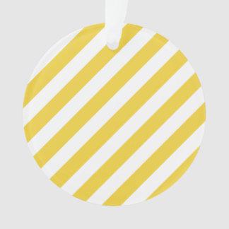 Ornamento Teste padrão diagonal amarelo e branco das listras