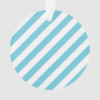 Ornamento Teste padrão diagonal azul e branco das listras