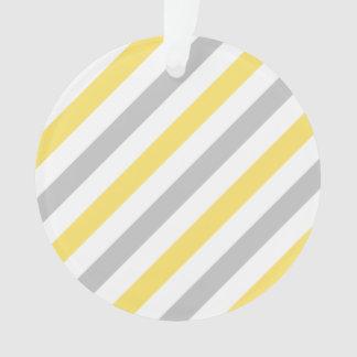 Ornamento Teste padrão diagonal cinzento e amarelo das