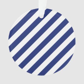 Ornamento Teste padrão diagonal do azul marinho e o branco