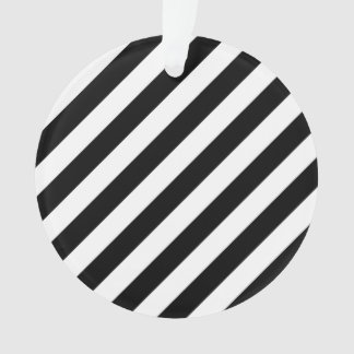 Ornamento Teste padrão diagonal preto e branco das listras