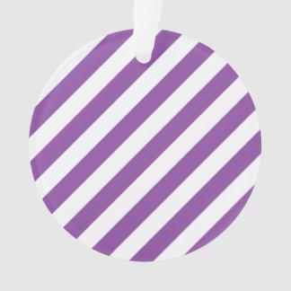 Ornamento Teste padrão diagonal roxo e branco das listras