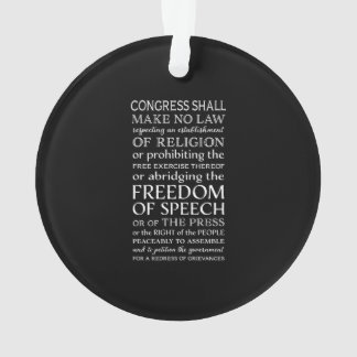 Ornamento Texto da Declaração de Direitos da liberdade de