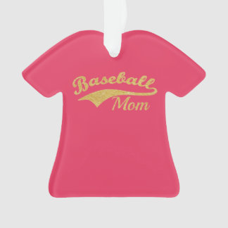 Ornamento Texto da mamã do basebol do ouro personalizado
