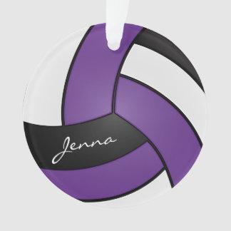 Ornamento Texto roxo, preto e branco do voleibol   DIY