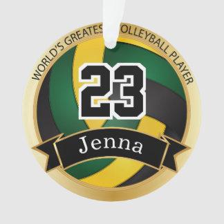Ornamento Texto verde, amarelo e preto do voleibol   DIY